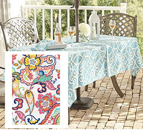Newbridge Boho Chic Paisley Indoor/Outdoor Fabric Tablecloth, Bold Colorful Paisley and Floral Print Water, Stain, Fade Resistant Tablecloth, 60 X 84 Oblong Zippered Umbrella Tablecloth