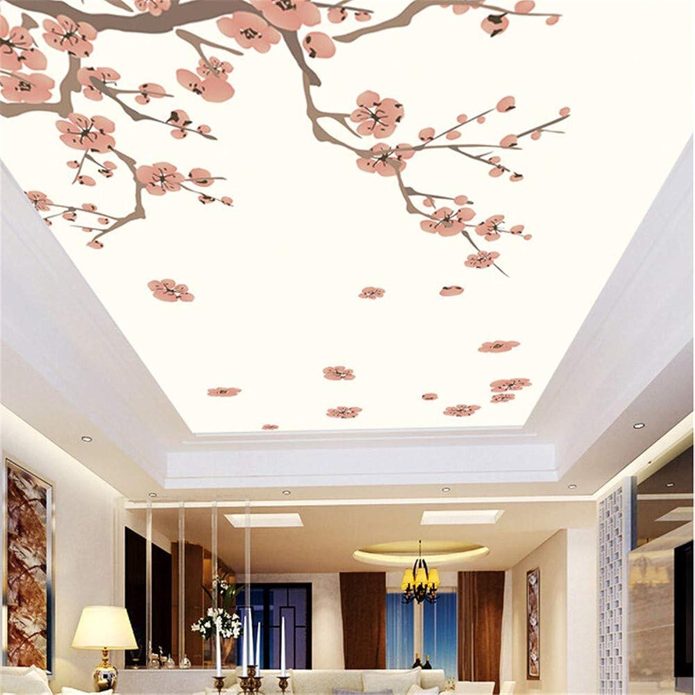 Steaean 3D-überdachung.Rote Pflaume Wandbilder Für Wohnzimmer Schlafzimmer Deckenwand Wasserdichte Tapete Kann Angepasst Werden, 400  280 cm
