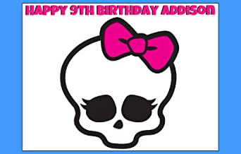 MONSTER HIGH Skullette Edible Image Cake topper Birthday Decoration sugar sheet draculaura clawdeen cleo Frankie ghouls halloween party