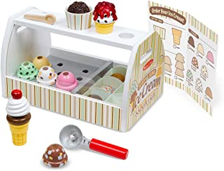 """Melissa & Doug Wooden Scoop & Serve Ice Cream Counter, Play Food and Accessories, 28 Pieces, Realistic Scooper, 13.6"""" H x 8.6"""" W x 7.7"""" L"""