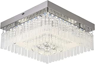 Horisun Modern LED Ceiling Light, Gorgeous Crystal Lighting Fixture, Glass LED Chandelier, Home Decoration Surface Mount Ceiling Lamp for Dining Room, Kitchen, Aisle, Hallway, Office, 4000K, 1320LM