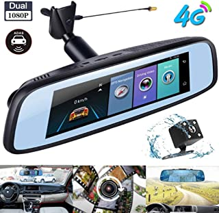 zhaokai 7.84 Inch Touch Screen Dash Cam 4G Android Rearview Mirror Driving Recorder with 1080P Front Cam and 720P Waterproof LED Rear Cam for Vehicles Front and Rearview Mirror with GPS