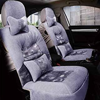 Washable Cars Seats Cover Plush Wide Car Seat Cushions for Driving Pad 5, A Pair Genuine Sheepskin Long Wool Car with Airbag Compatible Winter Warm Universal