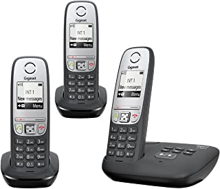 Gigaset A455A TRIO - Advanced Cordless Home Phone with Answer Machine and Nuisance Call Block - 3 Handsets, Black/Silver