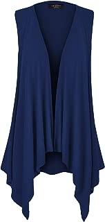 MBJ Women's Lightweight Sleeveless Solid/Tie-Dye Open Front Drape Vest Cardigan S-XXXL Plus Size