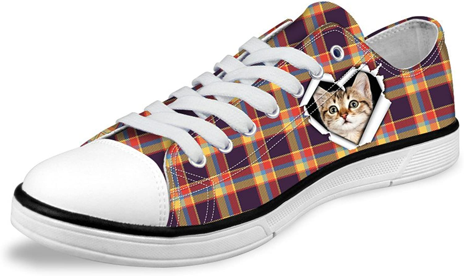 Micandle Cute Plaid Cat Print Design Simple Casual Low Top Canvas shoes