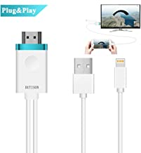 DUTISON Phone to TV Cable, Phone to HDMI Adapter Digital AV to 1080P HDTV Cord Converter Compatible for Phone X/8/8+/7/7+/6/6+/5S HDMI Connector Dongle for Pad Pod Pro Air Mini Plug and Play- 6ft