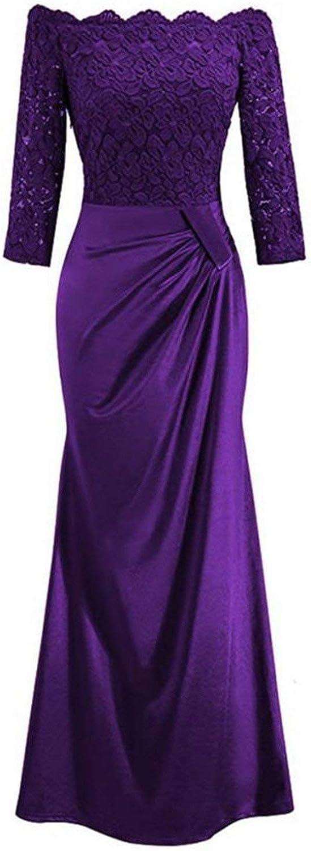 Cheryl Bull Fashion Winte Off Shoulder Slash Neck Formal Lace Sheath Long Maxi Party Dress Elegant