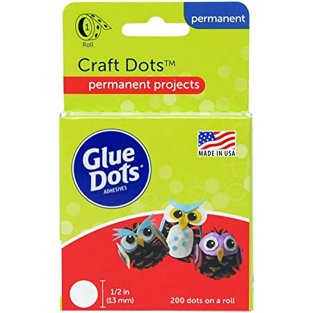 Glue Dots Double-Sided Craft Dots, 1/2'', Clear, Roll of 200 (08165E), Count