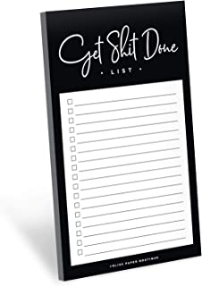 Daily to Do List Notepad, Funny Get Shit Done Tear Off pad, Memo pad for Shopping Lists, Reminders and appointments, 4.5 x 7.5 inches, 50 Sheets, Made in The USA