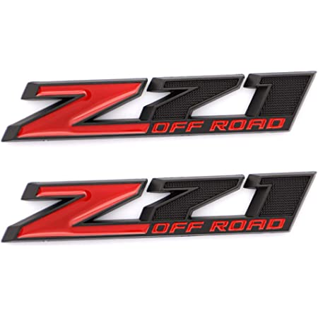 1X Metal Z71 OFF ROAD Emblems Decal Sticker Compatible with Chevrolet Silverado 1500HD 2500HD Sierra Red Black