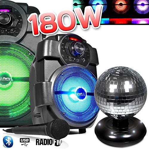 Lautsprecher Party Karaoke 180W Laptop akku handy180mit Micro USB/Bluetooth/FM Radio + Kugel Facette