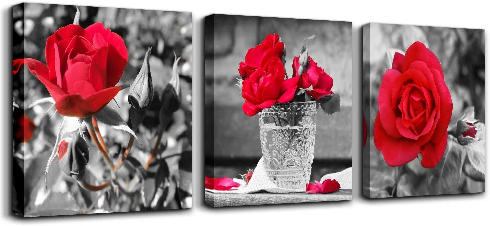 Wall Recommended art for living room Black and Ca flowers Red rose white Big At the price