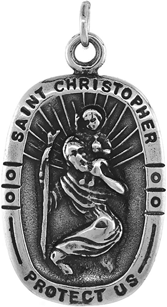 Sterling Silver Max Brand Cheap Sale Venue 72% OFF St. Christopher Necklace Antiqued 4 inc 3 Finish