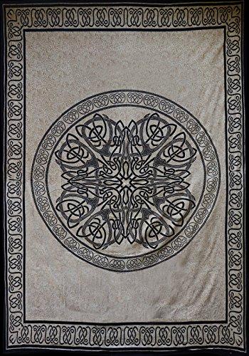 Schwarz-weiße Tagesdecke, Überwurfdecke mit keltischen Motiven, 100% gewebte Baumwolle, für Bett, Sofa und Sessel
