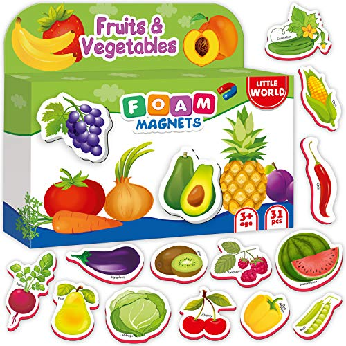 Little World Foam Refrigerator Magnets for Toddlers Age 1 - Fridge Magnets for Kids – Large Baby Magnets – 31 Magnetic Vegetables and Fruits for Toddler Learning – Safe Kids Magnets for 2 3 Year Old