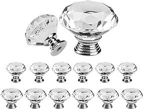 Deesen Kristallen deurknoppen, 6 stuks 30 mm+6 stuks 40 mm heldere lade meubels handgrepen met schroeven, voor keuken kant...