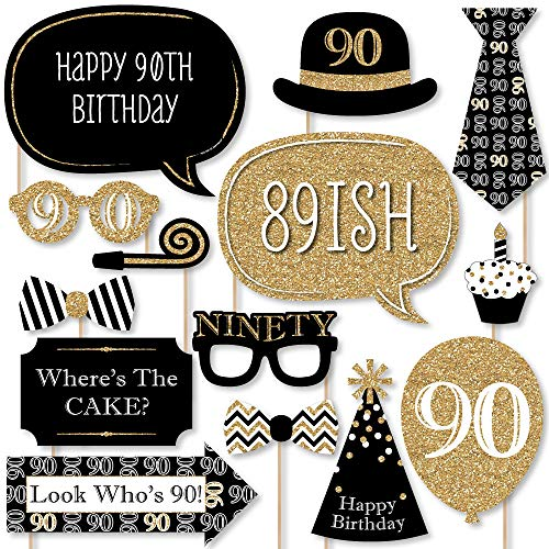 Big Dot of Happiness Adult 90th Birthday - Gold - Photo Booth Props Kit - 20 Count