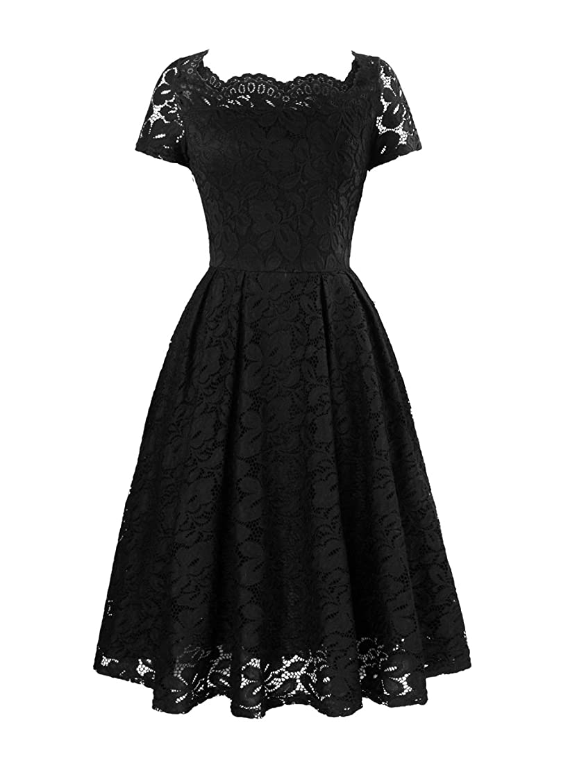 Yanmei Women's Floral Lace Cocktail Dress with Scalloped Neck Bridesmaid Dress