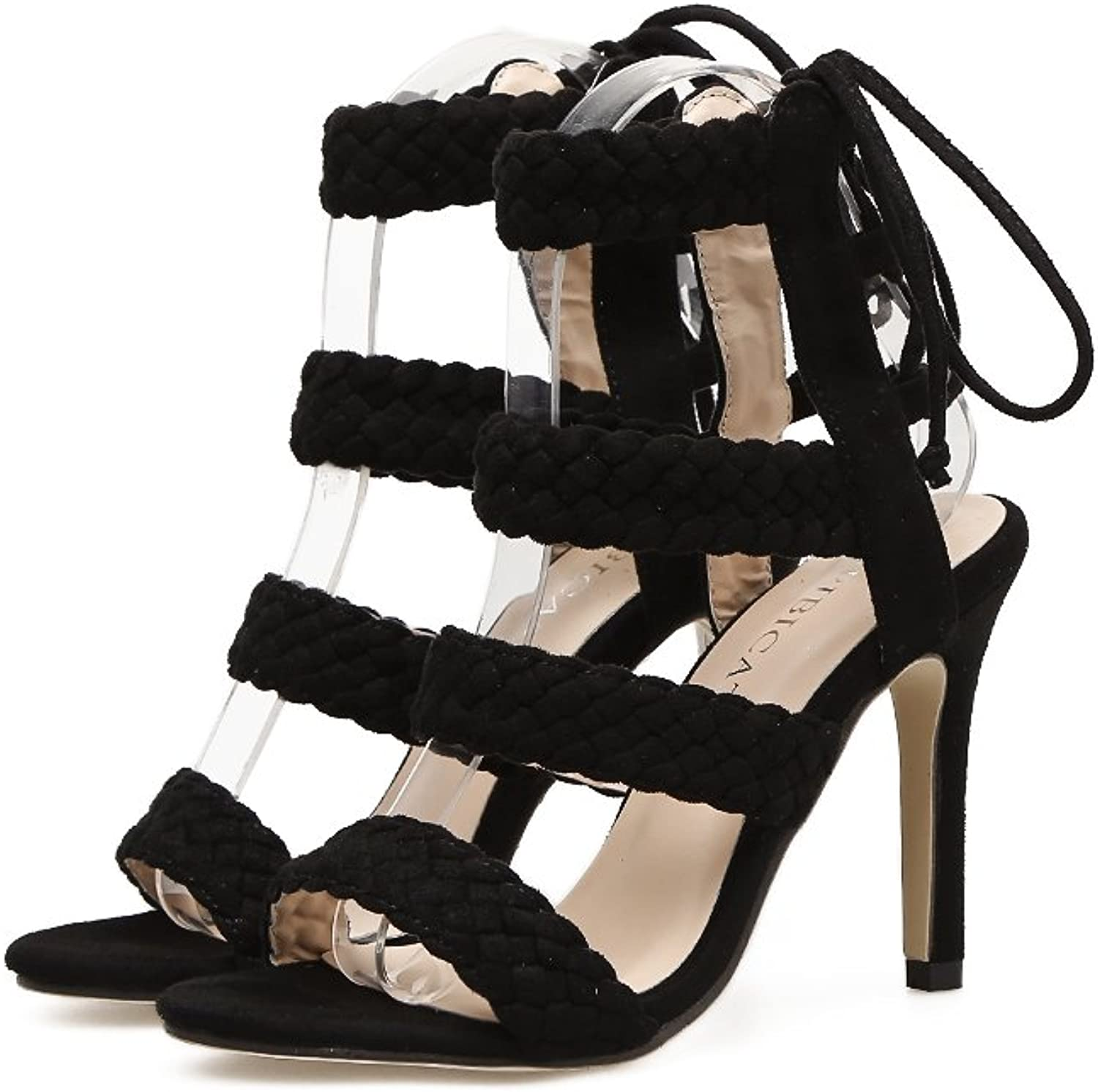 Women's shoes Suede Spring Summer Club shoes Heels Stiletto Heel Peep Toe Rhinestone for Party & Evening Dress Black, Apricot