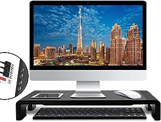 حامل شاشة ستانسوم لرفع الحواسيب القابل للطي مع 4 منافذ USB للشحن ونقل البيانات، حامل منظم مكتب قابل للتعديل لـ iMAC، لاب ت...