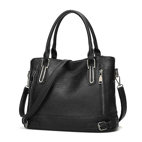 Ladies Leather Handbag Designer Top-Handle Bag Vintage Tote Crossbody Shoulder Bag Fashion Clutch for Women - Black