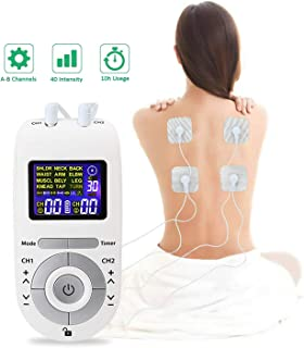 Moonssy Electroestimulador Muscular, Masajeador y estimulador de pulsos TENS/EMS, Reduce Dolor de Espalda, Cuello, Codo, Hombro, Nervio, Pantalla LCD, 2 Canales