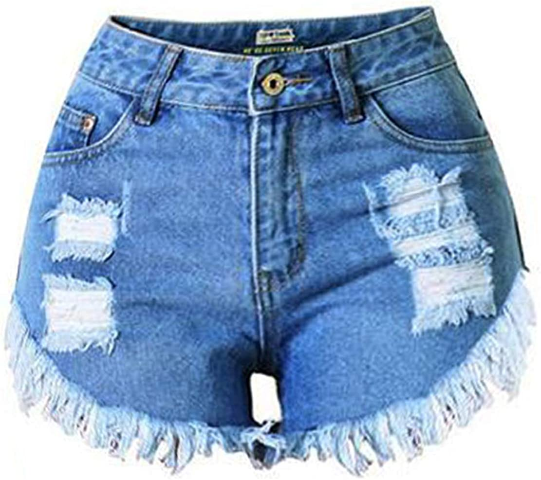 Ausehed Cut Off Denim Shorts for Women Frayed Distressed Jean Shorts Raw Hemline Mid Rise Ripped Hot Shorts