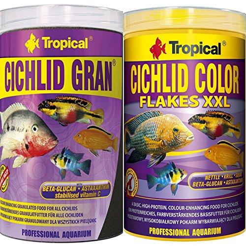 Tropical 1 Liter Cichlid Gran + 1 Liter Cichlid Color Flocken XXL Doppelpack 2 er Set Cichlid Malawi Fischfutter