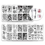 Biutee Set di Nail Art Stamping 10pcs Nail Template Piastra per Unghie+ 1pcs Raschietto+1p...