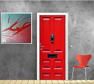 3D Porte Autocollant Sticker Porte 3D Porte Autocollant Rouge En Bois Porte Murale Mur Autocollant Diy Couverture De Porte...