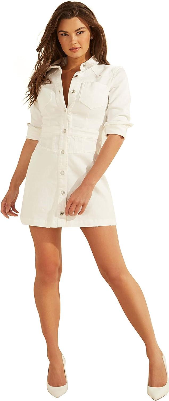 GUESS Women's Long Sleeve Sara Button Up Denim Shirt Dress