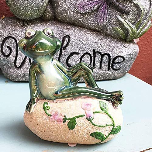 Garten Ornamente kreative glückliche Tier des Frosch Wasserdicht Keramik Garten-Statue for Yard Rasen Dekoration Geschenk (Color : A, Size : 13 * 12cm)