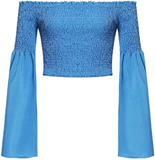 OTW Womens Long Bell Sleeve Off The Shoulder Crop Tops Sexy Tee Shirts Blouse