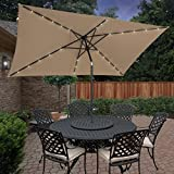 BCP 10'x6.2' Deluxe Solar LED Lighted Rectangle Patio Umbrella W Tilt Sunshade