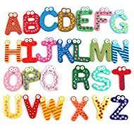 Kids Educational Toy Wooden Letters stickers Alphabet Fridge Magnet Learning Magnets the fridge 26 pcs ABC sticker for children