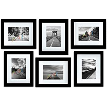 "Art Street Decorative Set of 6 Individual Wall Photo Frame (8"" X 10"" Picture Size matted to 5"" x 7"") - Black"
