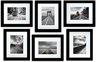 "Art Street Decorative Premium Set of 6 Individual Wall Photo Frame (8"" X 10"" Picture Size matted to 5"" x 7"") - Black"