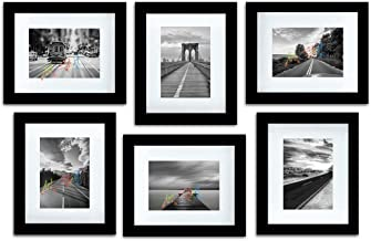"Art Street Decorative Photo Frame Set of 6 Individual Wall Picture Frame (8"" X 10"" Picture Size matted to 6x8) - Black"