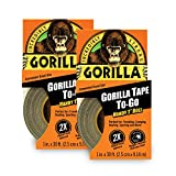Gorilla 6100116 6100101-2 Duct Tape to-Go, 1' x 10 yd, Black, (Pack of 2), 2-Pack, 2 Pack
