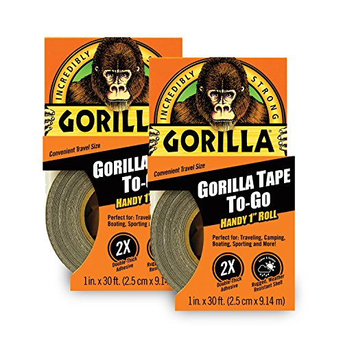"""Gorilla 6100116 6100101-2 Duct Tape to-Go, 1"""" x 10 yd, Black, (Pack of 2), 2-Pack, 2 Pack"""