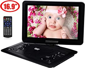 YOOHOO 16.9'' Portable CD/ DVD Player for Car with 14.1'' 270°Swivel High Definition LCD Screen,6 Hours Rechargeable Battery,Supports SD Card/USB/CD/DVD (Black)