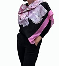 Large Square Silk Scarf Artisic Hand Painted and Printed Black Shawl with Pink Rose Floral Designer Wrap Mother, Women Birthday Gift