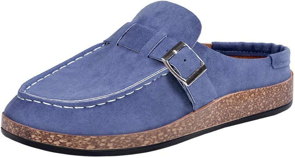 Manooby Womens Clogs Suede Slip On Sandals Loafer Flat Round Toe Backless Walking Slippers Shoes.