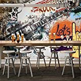 Personalizado Cualquier Tamaño Mural Papel Tapiz Europeo Estilo Retro 3D Graffiti Guitarra Rock Musica Bar Ktv Herramientas De Fondo Arte Pintura De Pared-200 * 140 Cm