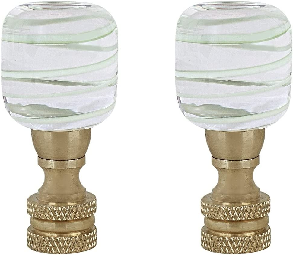 Unknown1 Clear with Light Green Line Glass Ranking TOP20 mart Finial Lamp in Copper