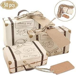 50 Pack Vintage Kraft Favor Box Candy Gift Bag for Travel Theme Party Wedding Birthday Bridal Shower