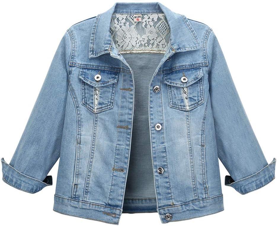 Denim Jacket Women's Fashion Lapel BF Style Comfortable Loose Lace Stitching Cropped Jacket (Size : Medium)
