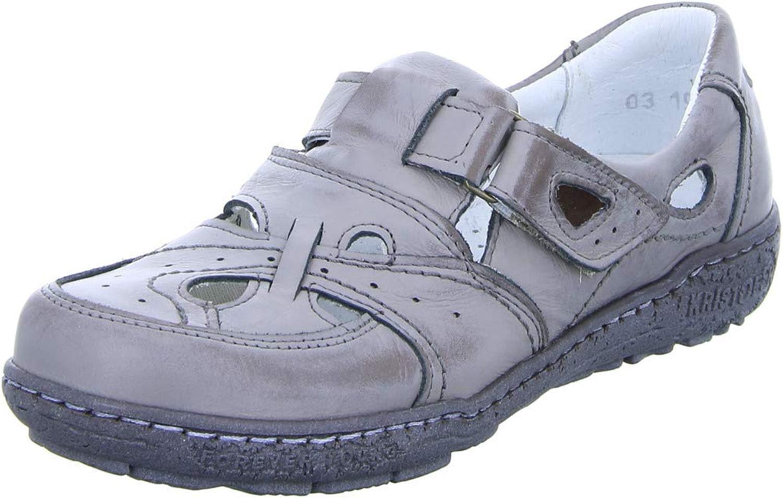 Kristofer Damen Sandale P2027 luftiger Leder Halbschuh mit mit Klettverschluss und Cut Outs Grau (grau) 1760312031  Jetzt einkaufen