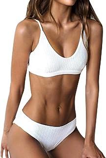 3e7fc7f6f1 RUUHEE Women Ribbed Bikini Cheeky Bottom v Neck Brazilian Top 2 Piece  Bathing Suits